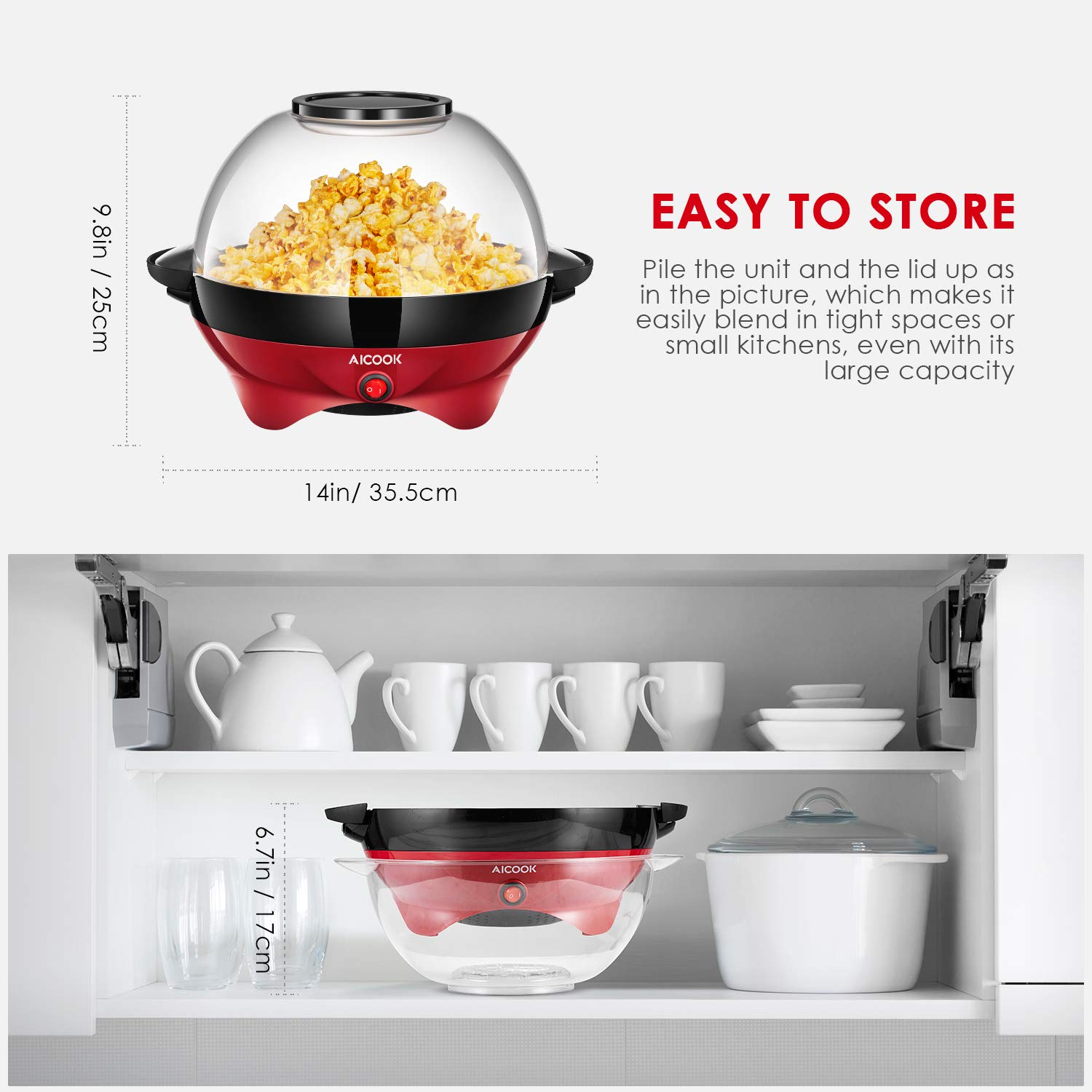 Popcorn Maker, AICOOK Electric Hot Oil Popcorn Popper Machine with Stirring Rod Offers Large Lid for Serving Bowl and Convenient Storage, 6-Quart, Red by AICOOK (Image #3)