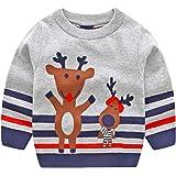 JiAmy Niños Niñas Jersey de Navidad Sudadera de Punto Suéter Invierno Pull-over Manga Larga Ciervo Gris 4-5 Años