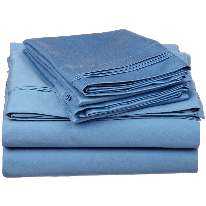 100% Egyptian Cotton 650 Thread Count, Queen 4-Piece Sheet Set, Deep Pocket, Single Ply, Solid, Medium Blue
