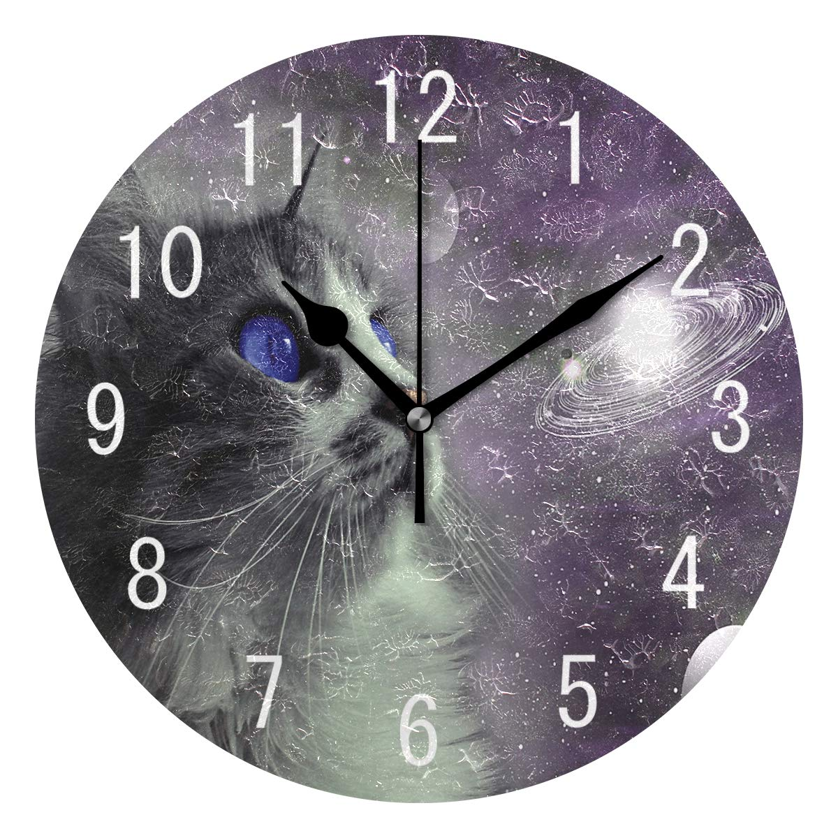 ALAZA Home Decor Solar System Cat Kitten Round Acrylic Wall Clock Non Ticking Silent Clock Art for Living Room Kitchen Bedroom