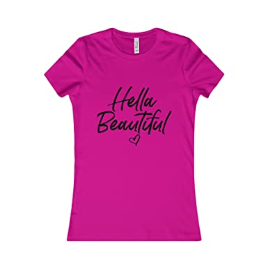183b25acf97e Amazon.com  Hella Beautiful - T-Shirt (Black Lettering) Tee Shirts ...