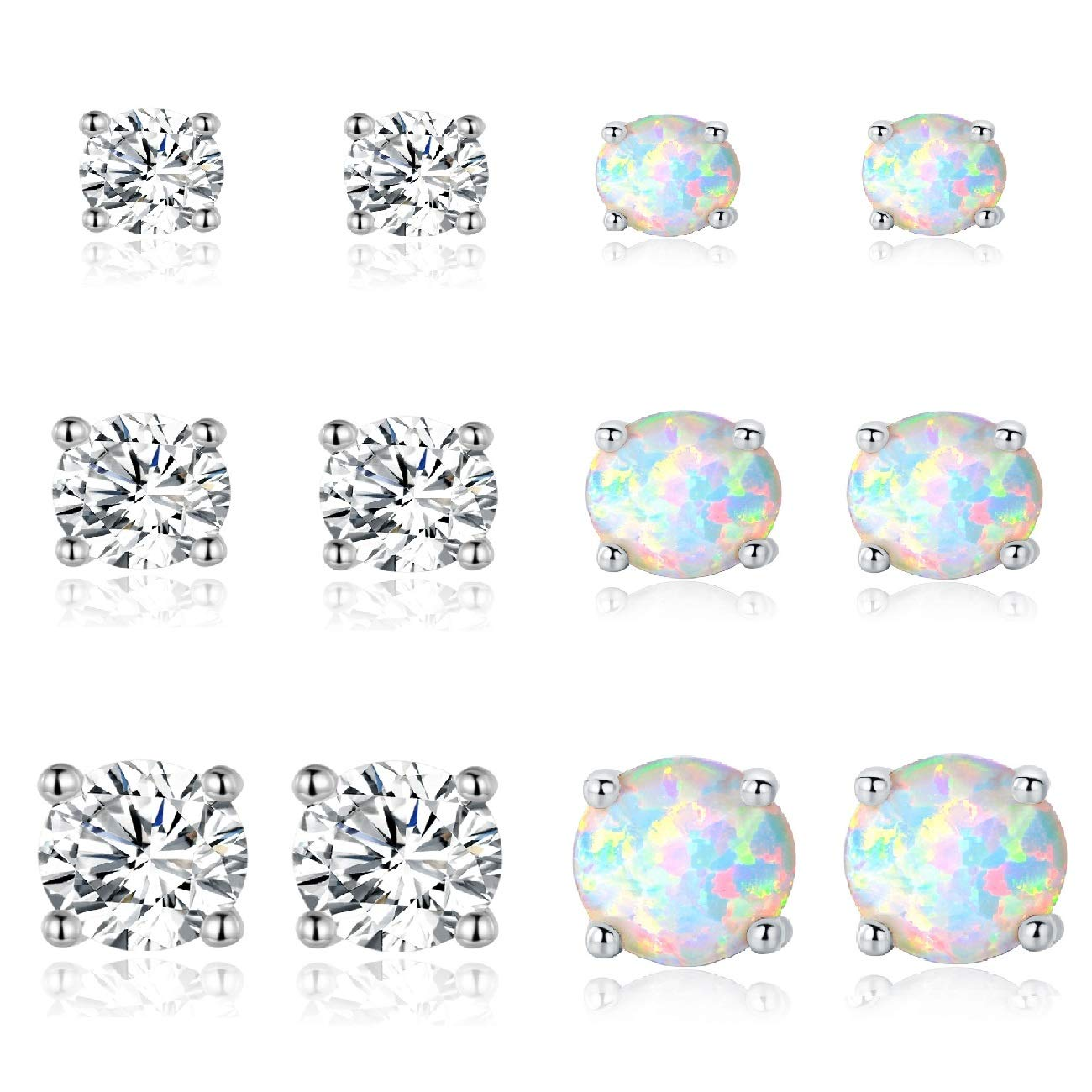 GEMSME Green White and File Opal 6mm Round Stud Earrings Pack of 3 PCS E4914