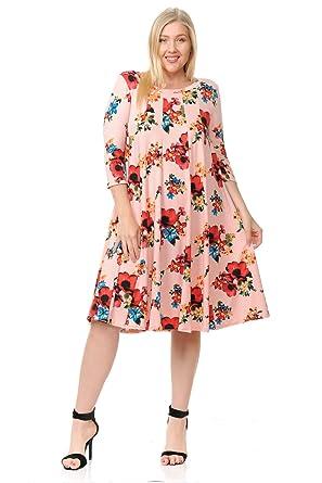 Pastel by Vivienne Women\'s A-Line Trapeze Midi Dress Plus Size Floral Print