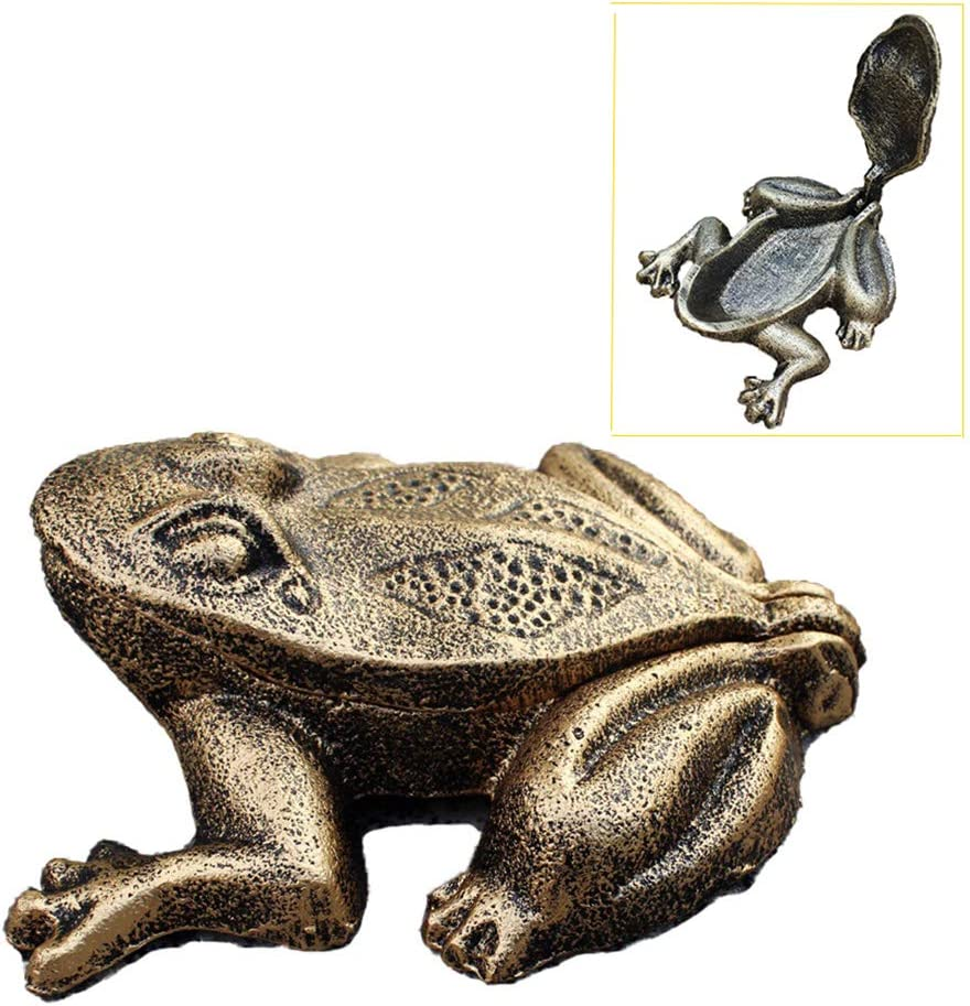 Greek Art Garden Decoration Cast Iron Key Hider Diversion Safe Key Outside Hider Hide-A-Key Holder Safely Hiding Your Spare Keys for Outdoor Garden or Yard, Geocaching (Flip Cover Frog)