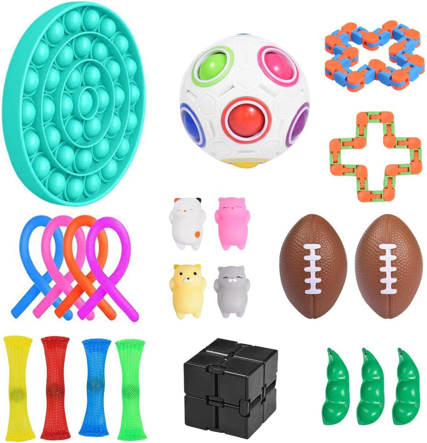 Juego de juguetes Sensory Fidget, juguete para niños con autismo, trastorno por déficit de atención con hiperactividad (TDAH), kit de alivio de ansiedad con pelota antiestrés para adultos 22 piezas