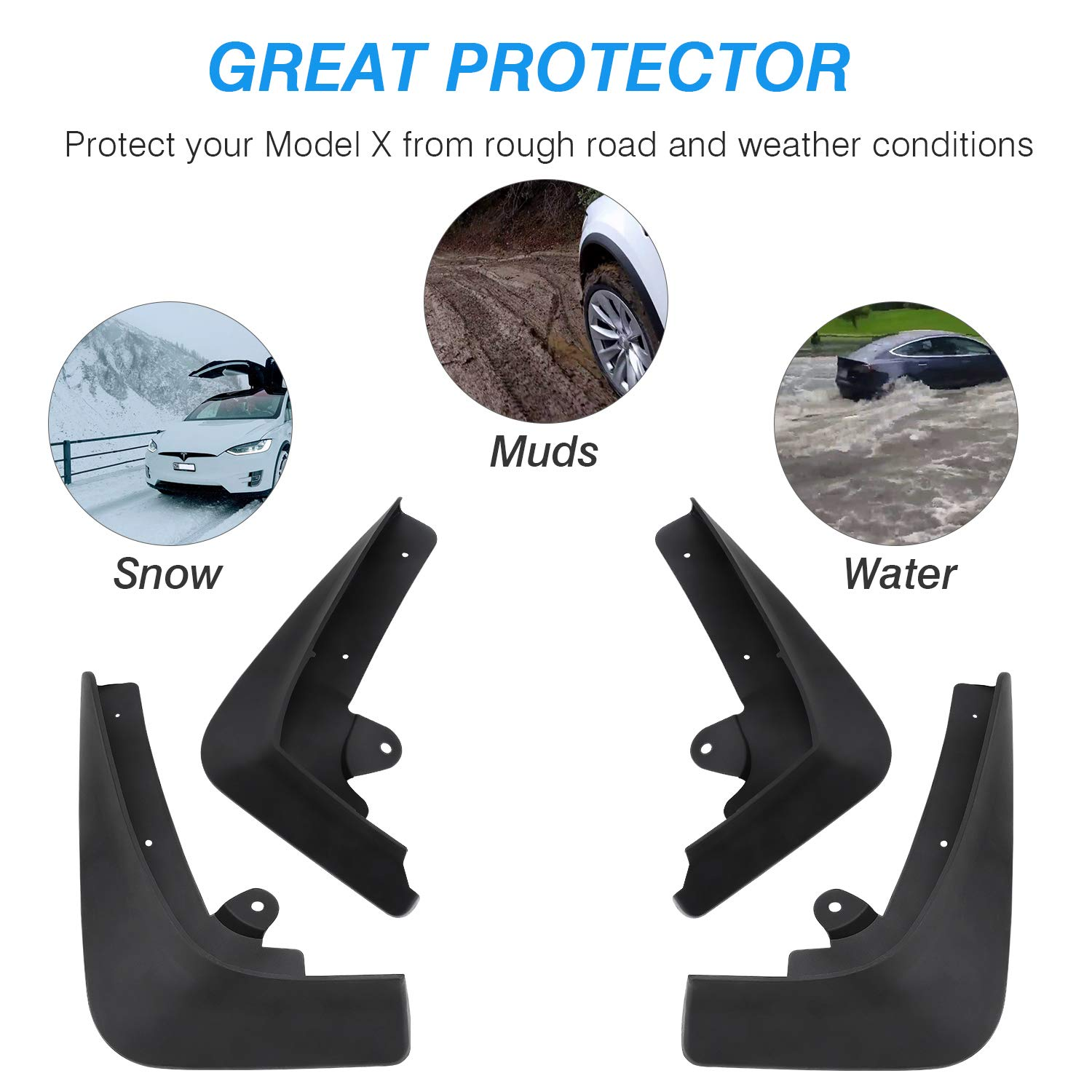 Set of Four BASENOR Tesla Model X Mud Flaps Splash Guards Accessories