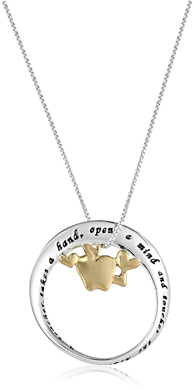 Sterling silver a teacher mobius circle with apple pendant necklace sterling silver a teacher mobius circle with apple pendant necklace 18 amazon jewelry aloadofball Gallery