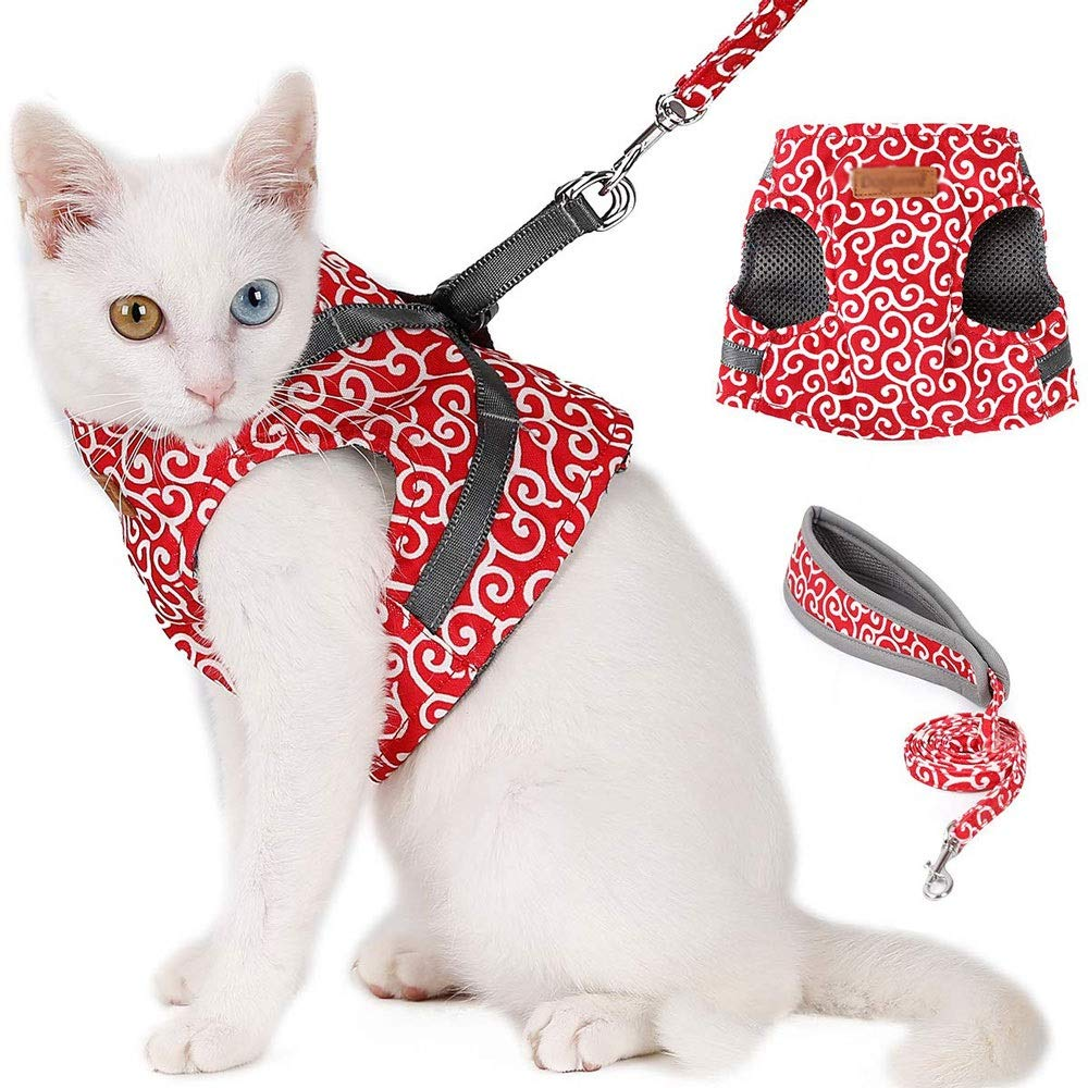 KDKDA Pet Harness with Leash Set, Cat Harness and Leash Adjustable Soft Mesh Pet Harnesses, Best for Kitten Walking, Blue, Extra Small (Color : Red, Size : XS) by KDKDA