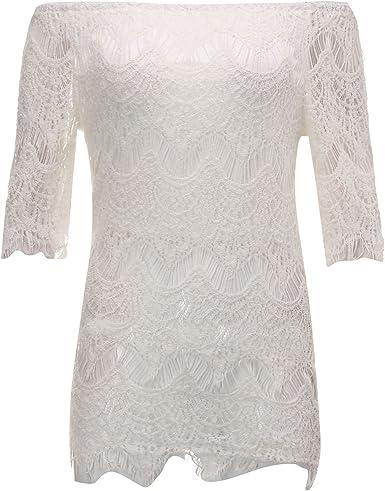 StyleDome Mujer Punta ganchillo hombro freirei espalda descubierta Blusa Slim Camisa Blanco Weiß: Amazon.es: Ropa y accesorios