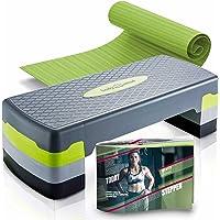 Body & Mind® aërobe stap boord Elite 3 stappen stepper stap bank met gratis anti-slip mat
