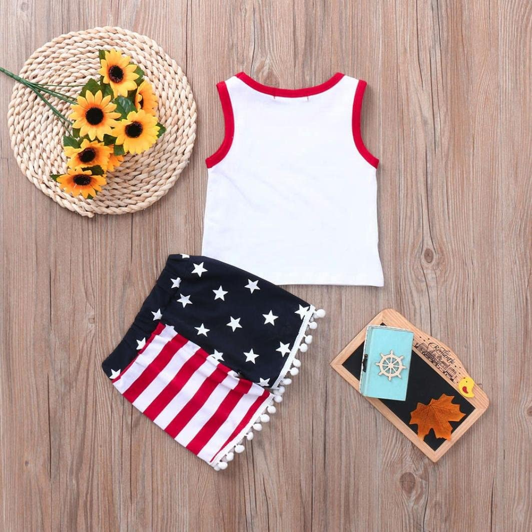 WARMSHOP 4th of July Outfits Set Girls Boys Stylish Sleeveless Cotton Tops White+Stars Striped Tassels Shorts