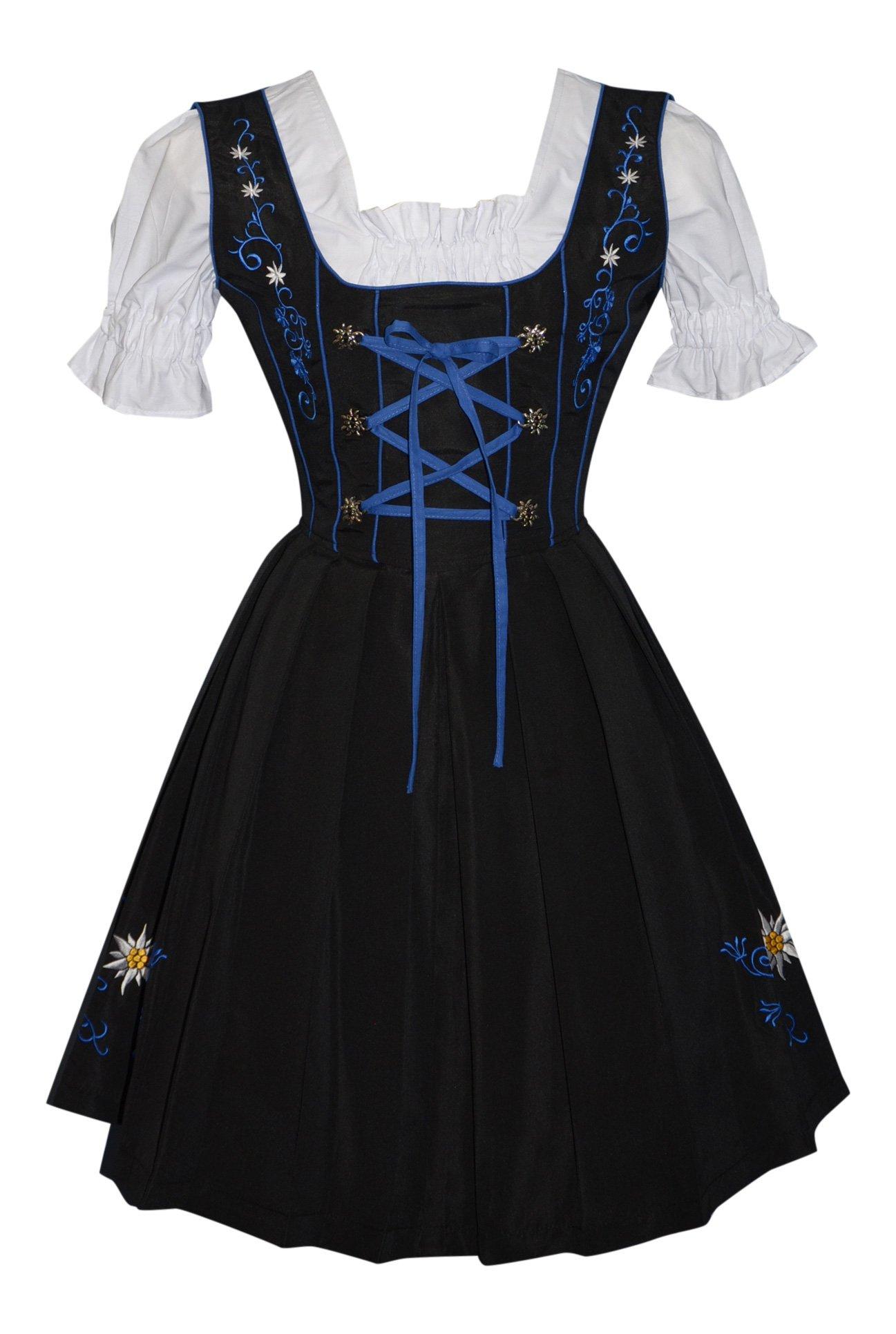 3-piece German Party Oktoberfest Dirndl Dress Black & Blue (16) by Edelweiss Creek (Image #2)