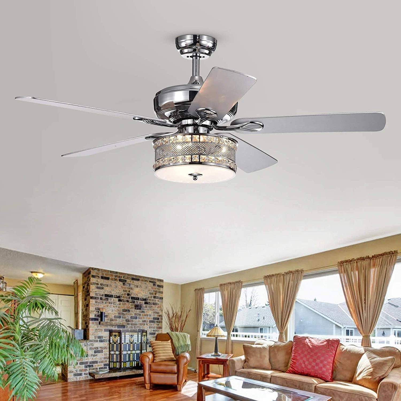 LuxureFan Modern Ceiling Fan Light Bulbs Chrome Crystal Chandeliers Fan Unique Light Fixture 5 Wood Blades 3 Speed Remote Control Decoration Home Living Room of 52Inch