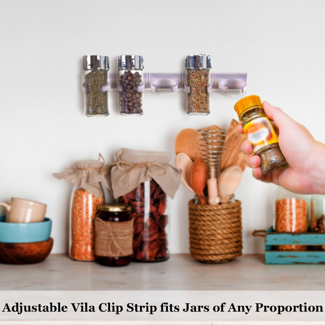 Space-saving Wall Mount Spice Organizer - 4 Clip Strips for Plastic Jars by Vila - Arranges multi-brands Spice Jars of different sizes - Mounts Securely with Top-Quality Adhesive Tape - Convenient