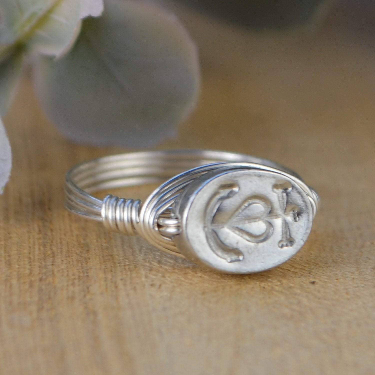 Custom made to size 4-14 Sterling Silver Camargue Cross Ring Yellow or Rose Gold Filled Wire and Pewter Bead Wire Wrapped Ring