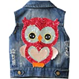 Little Girls Denim Vest Spring Autumn Sequins Owl Vest Coat