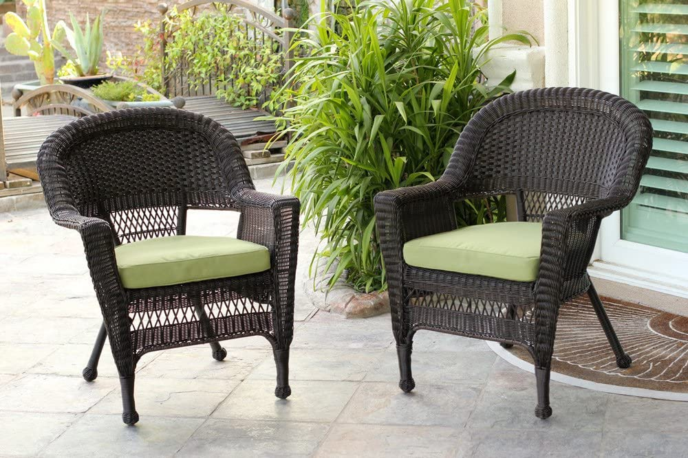 Jeco Wicker Chair with Green Cushion, Set of 2, Espresso