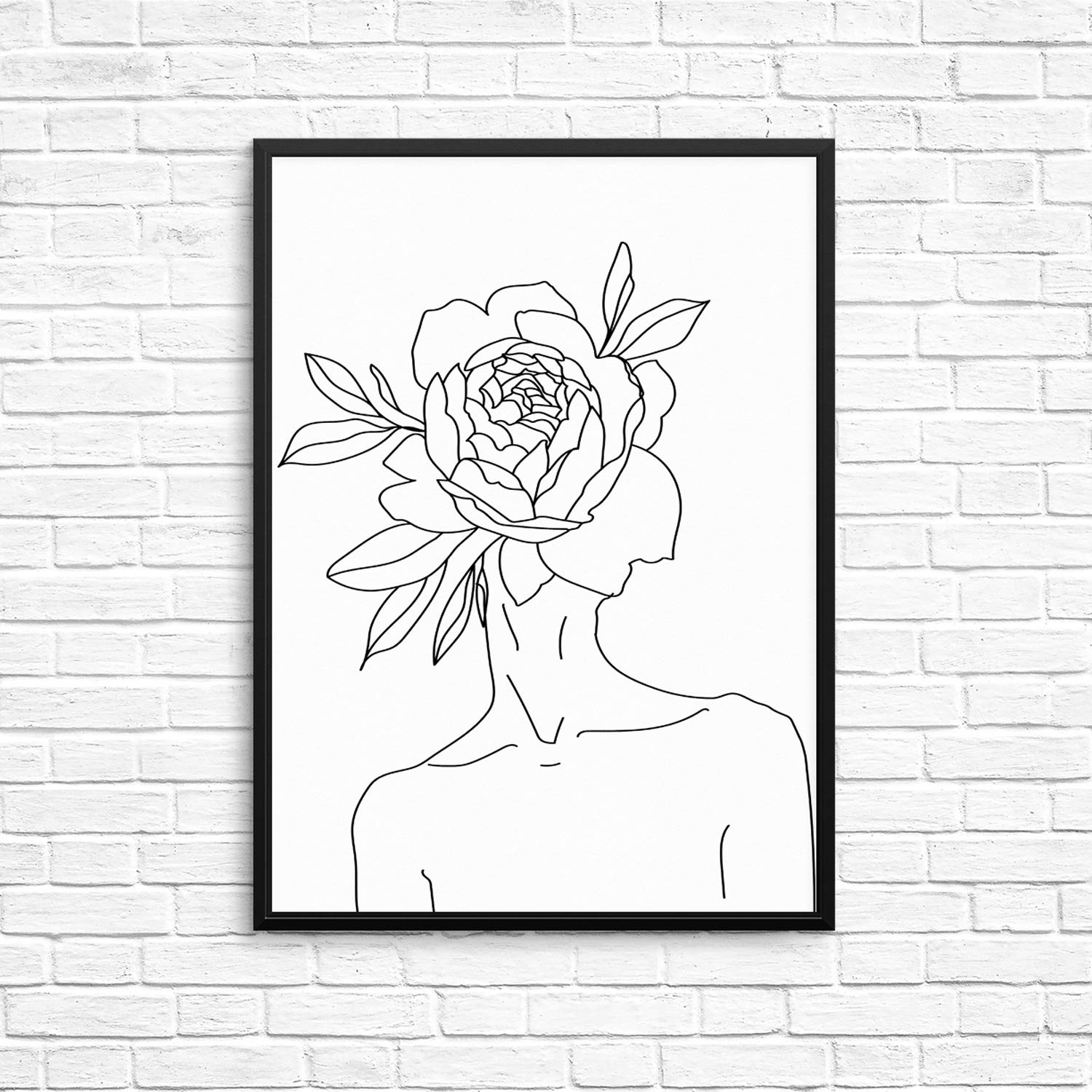Womans body shape silhouette wall decor art print poster 11x14 unframed minimalist black and white artwork for living room bedroom or home office