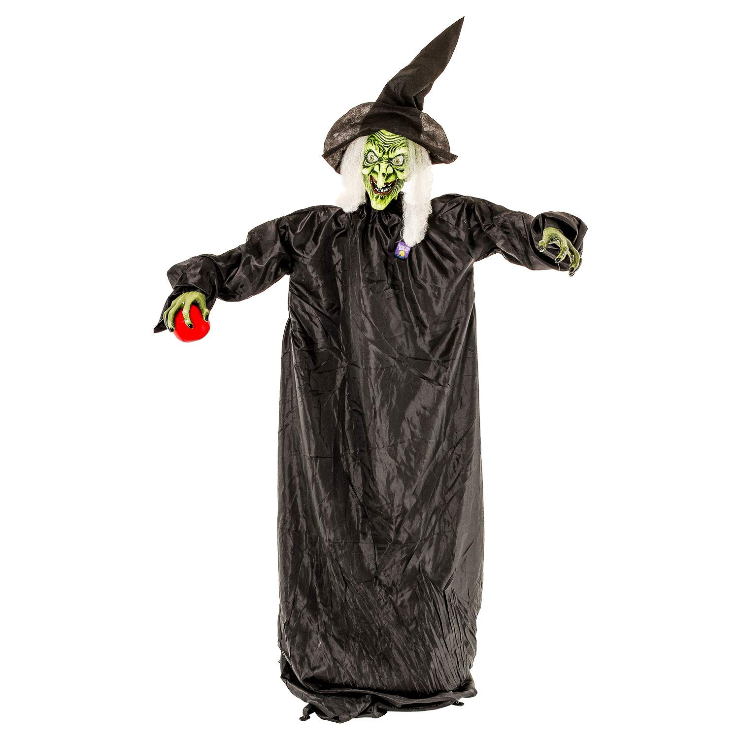 Halloween Haunters 5 foot Animated Standing Wicked Witch with Red Apple Casting Spell and Cackles Prop Decoration - Flashing Red LED Eyes, Black Hat & Green Face, Laughs - Haunted House Entryway Party