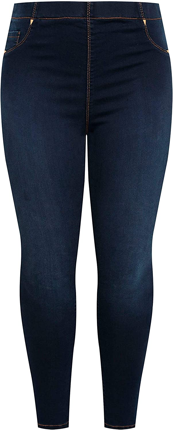 Yours Clothing Womens Jenny Jeggings Indigo Stretchy Regular Fit Plus Size