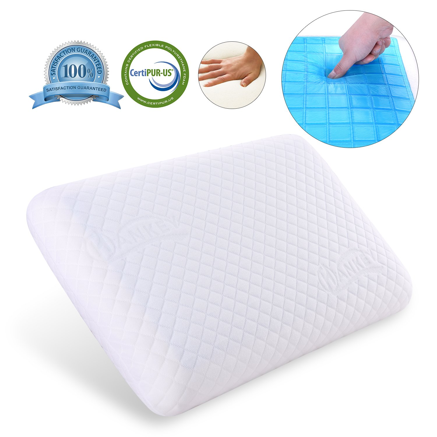 Hankey Double-Sided Memory Foam Cool Gel Pillow for Summer and Winter Use, Orthopedic Neck & Back Support Pillows, Soft & Comfortable Design, Removable Washable Hypoallergenic Cover, 60 x 40 x 12 CM (1 Pack) PL01