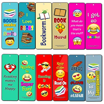 Creanoso Inspiring Book Reading Quotes Smiley Emoji Bookmarkers 30 Pack Stocking Stuffers Gift For Bibliophiles Book Worms Young Book Lovers