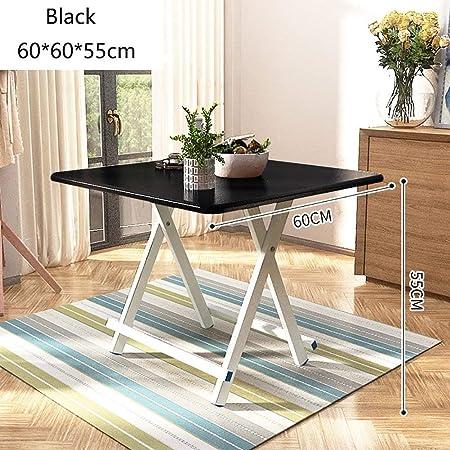 Dongy Mesa plegable para té, café, mesa de trabajo, banco de trabajo, patas de aluminio y alfombrilla antideslizante de madera para ocio, mesa plegable de camping pequeña cuadrada, negro, 60*60*55cm: Amazon.es: Hogar