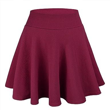 WinCret Falda Mujer Mini Elástica Plisada Básica Multifuncional ...