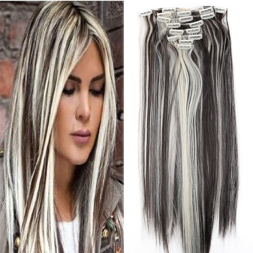 8PCS/SET Full Head Clip in Hair Extensions 140Grams Thick Real Natural Top Synthetic Hair Hairpiece for women lady(26-Straight,Jet Black) US Fashion Outlet