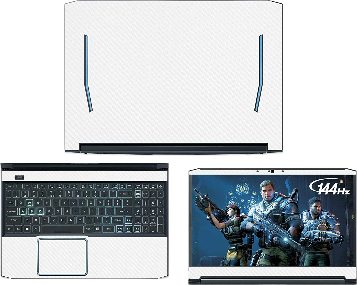 "Decalrus - Protective Decal for Acer Predator Helios 300 PH315-52 (15.6"" Screen) Laptop White Carbon Fiber Skin case Cover wrap CFACprdator_Helio_300_PH315-52White"