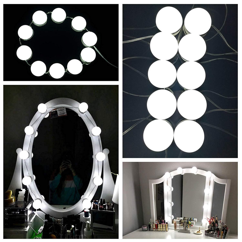 10 Stück LED Spiegellampen, Hollywood-Stil Spiegelleuchte, Spiegellicht Set für Kosmetikspiegel, 500cm Leinenlänge einstellbar, Wasserdicht IPX5 Schminkspiegel Lampen mit 7000K Licht, 5 Niveau Dimmbar Beleuchtung, USB-Netzteil Macrourt