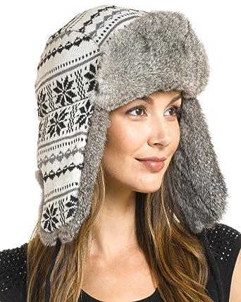c935ca476f3 frr Women s Snowflake Rabbit Aviator Hat - S at Amazon Women s ...