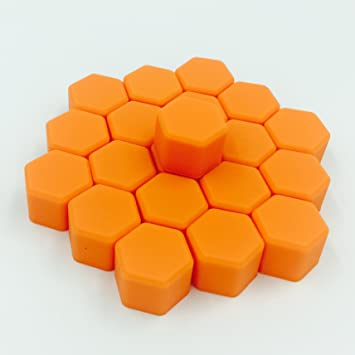 Car Decorative Rust Protection Silicone Dust-proof Lug Nut Cap Styling Nut Cover Hub Bolt Car accessories Interior Wheel Covers 17mm 19mm 21mm Orange, 17mm