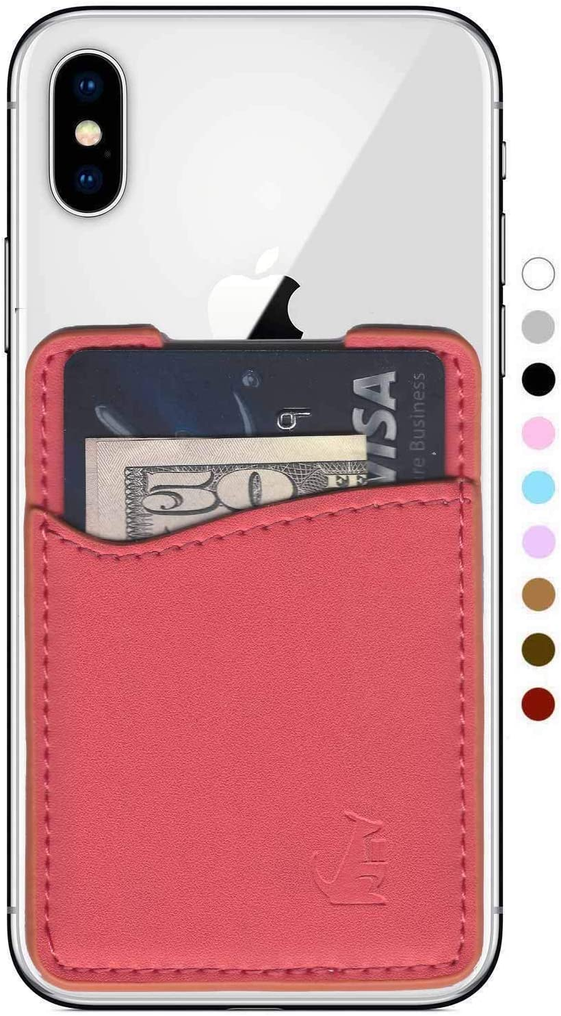 WALLAROO Premium Leather Phone Card Holder Stick On Wallet for iPhone and Android Smartphones (Coral Leather)