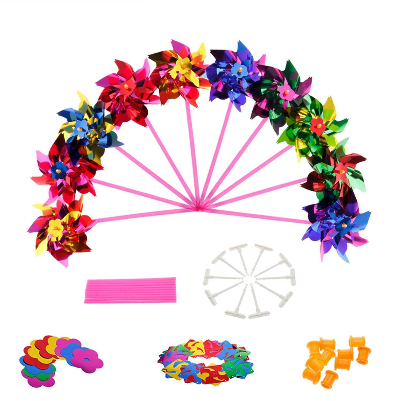 Lawn Pinwheels, Party Pinwheels Windmill Rainbow Pinwheel DIY Pinwheels Set for Kids Toy Garden Lawn Decor, 100 PCS by Johouse