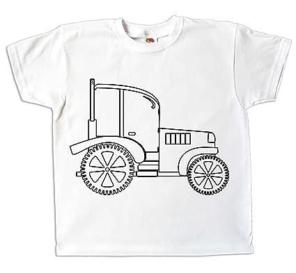 7b1622ec8c494 Kinder T-Shirt Traktor zum bemalen und ausmalen mit Vordruck zum  Kindergeburtstag Kindergarten für Jungen