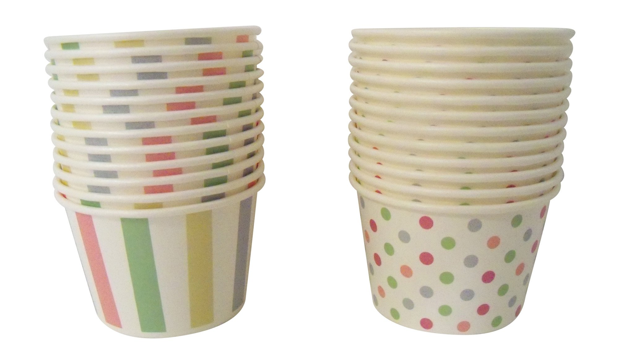 Paper Ice Cream Cups - Pastel Stripes & Polka Dots Design, 24 Count