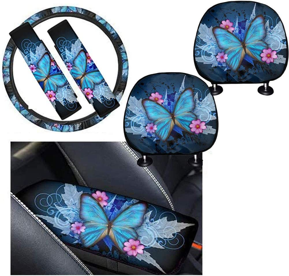 1 Center Console Armrest Protector Included 2 Headrest Cover HUGS IDEA Yellow Sunflowers Car Interior Accessories Full Set of 6 2 Seatbelt Pads Fits Most Cars 1 Steering Wheel Cover
