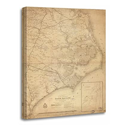 TORASS Canvas Wall Art Print Outer Vintage Map of Eastern North Carolina  Banks Artwork for Home Decor 20\