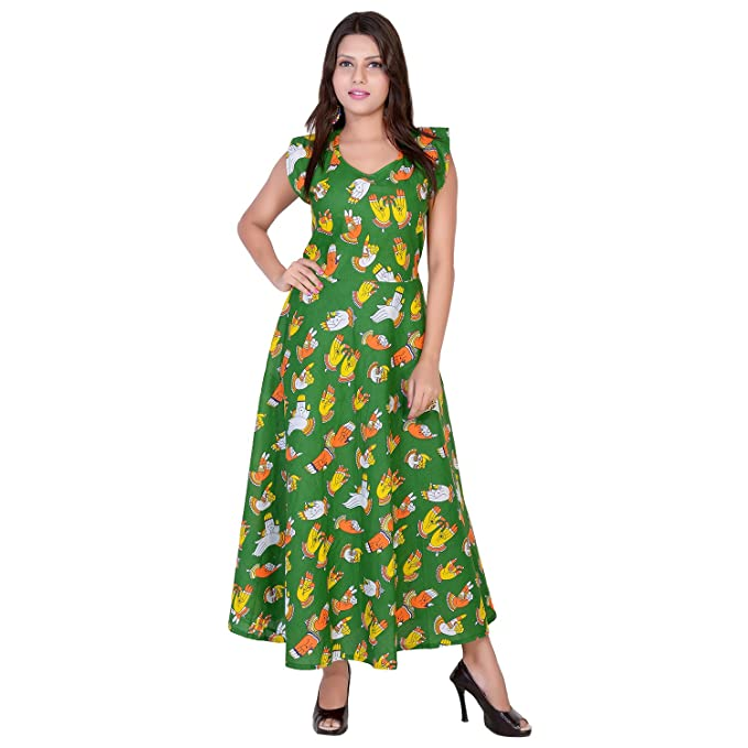 58475feb2b fabcolors Women s Cotton Party Wear Kalamkari Print Long Maxi Dress  (MX181 1