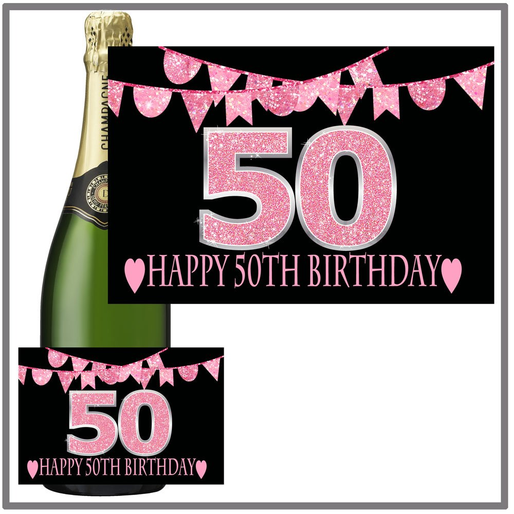 Eternal Design 50th Birthday Bottle Label Sticker Champagne Gift.Pink Glitter