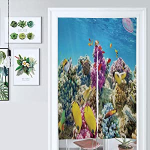 ALUONI Japanese Noren Doorway Curtain/Tapestry, Ocean, Intact Sea Life Fish School and Medusa Jellyfish at Clear, Cotton Linen, Home Decoration AM024774 33.5 x 59 inches