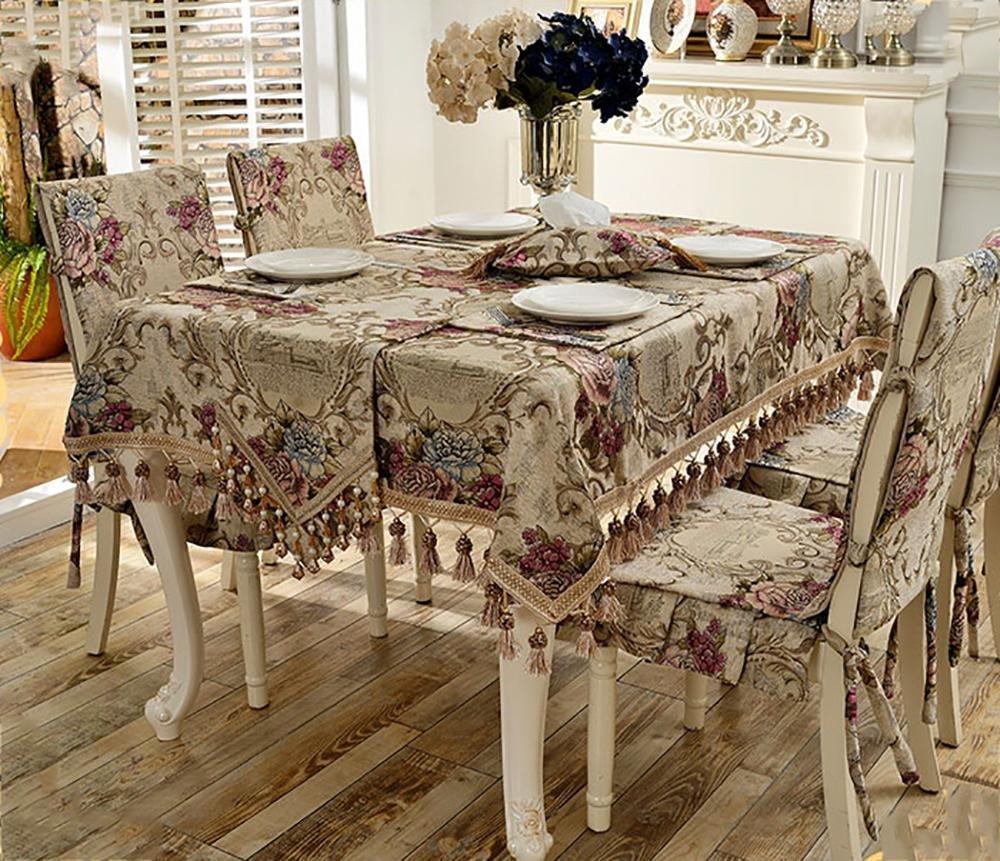 Kaki Clair 140200cm Rectangle de nappe de chenilla de style européen avec décoration de Table de cuisine salle à hommeger  150210cm bleu