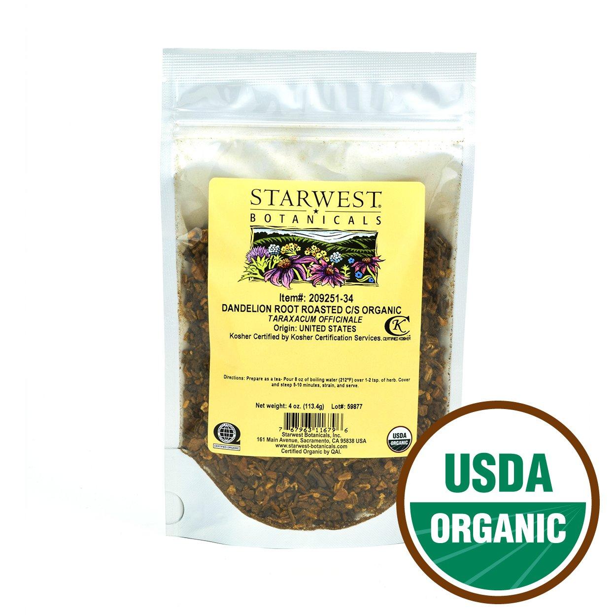 Starwest Botanicals Organic Dandelion Root Roasted Cut [4 Ounces] Loose Tea in Bulk