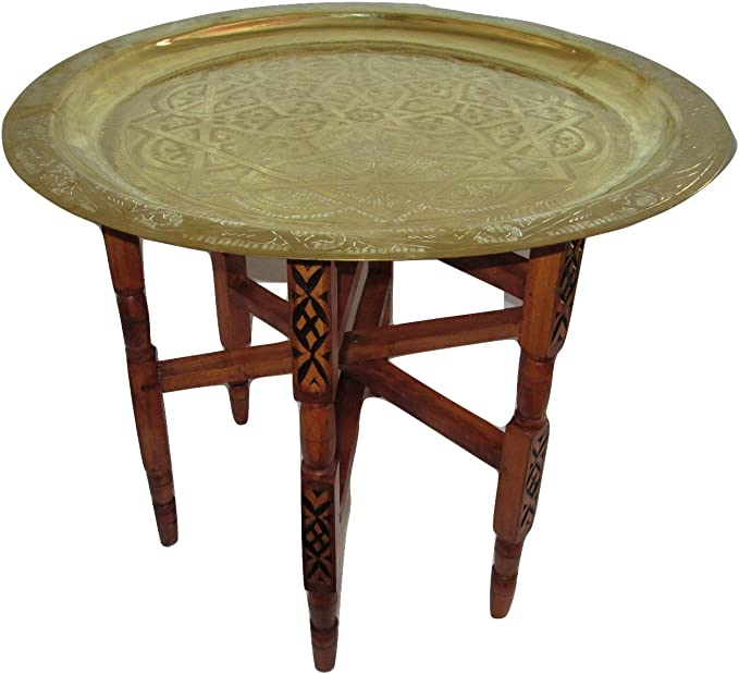 Moroccan Traditional Tea Table Engraved Brass Tray Top Folding Carved Wood 24 Furniture Decor