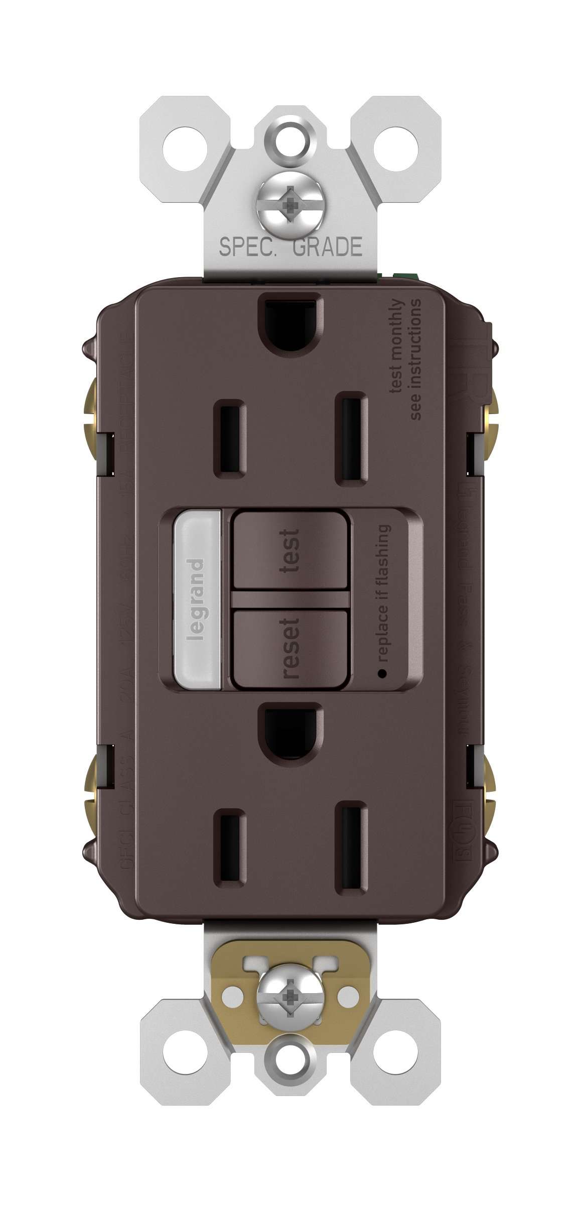 Legrand-Pass & Seymour 1597NTLTRDBCC4 RADIANT Self-Test GFCI Tamper-Resistant Receptacle Outlet with Wall Plate, 15Amp, Bronze