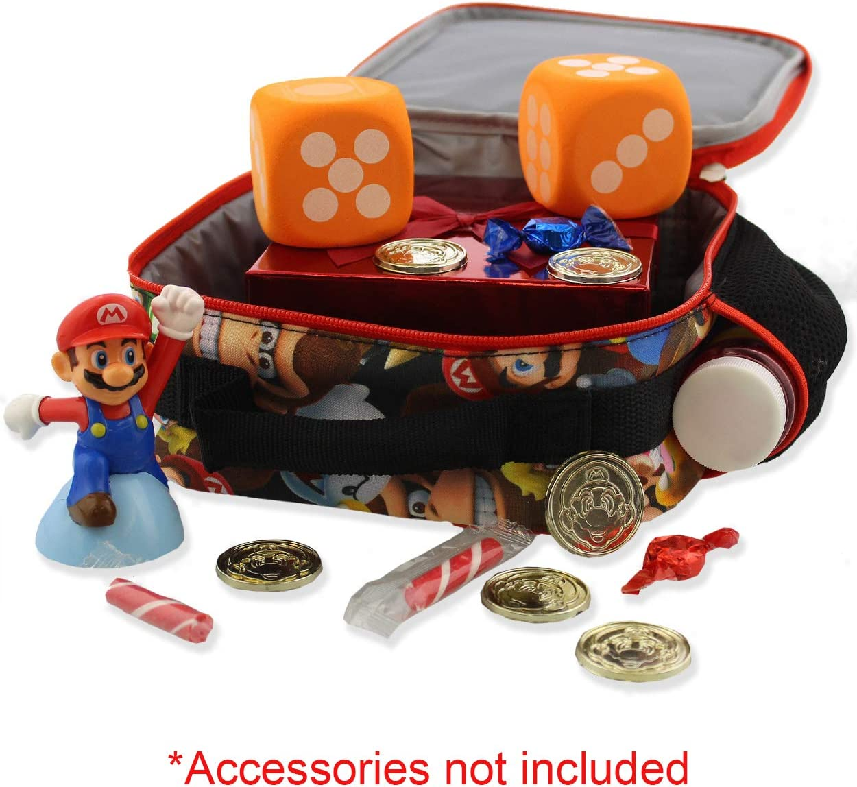 One Size, Red//Multi Super Mario Bros Boys Girls Soft Insulated School Lunch Box