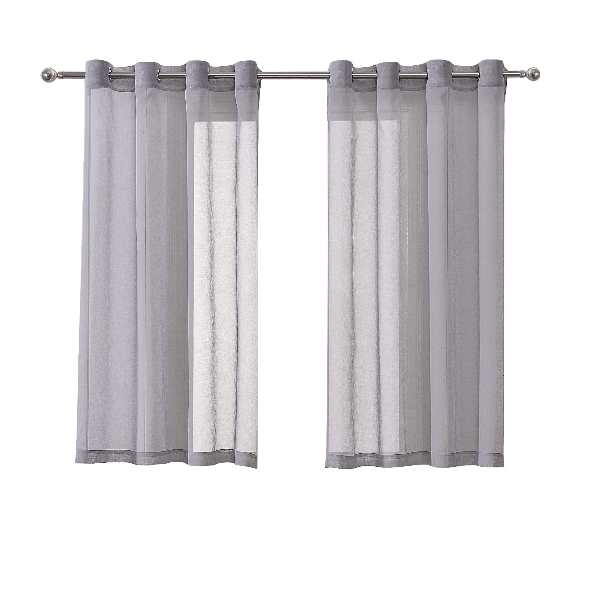 DWCN Sheer Curtains for Living Room Grey Faux Linen Look Voile Drapes Grommet Bedroom Window Curtain 52 x 63 Inch Long, 1 Pair Set of 2 Panels