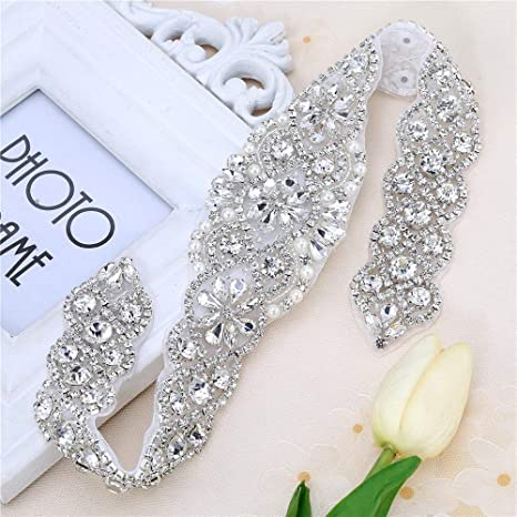 Sew on Crystal Rhinestone Wedding Dress Sash Applique with Beaded Jeweled Sequin Diamond Embellishments Hot Fix Iron on for Bridal Bridesmaid Gown Womens Prom Formal Belt Bride Keepsake Gifts Silver