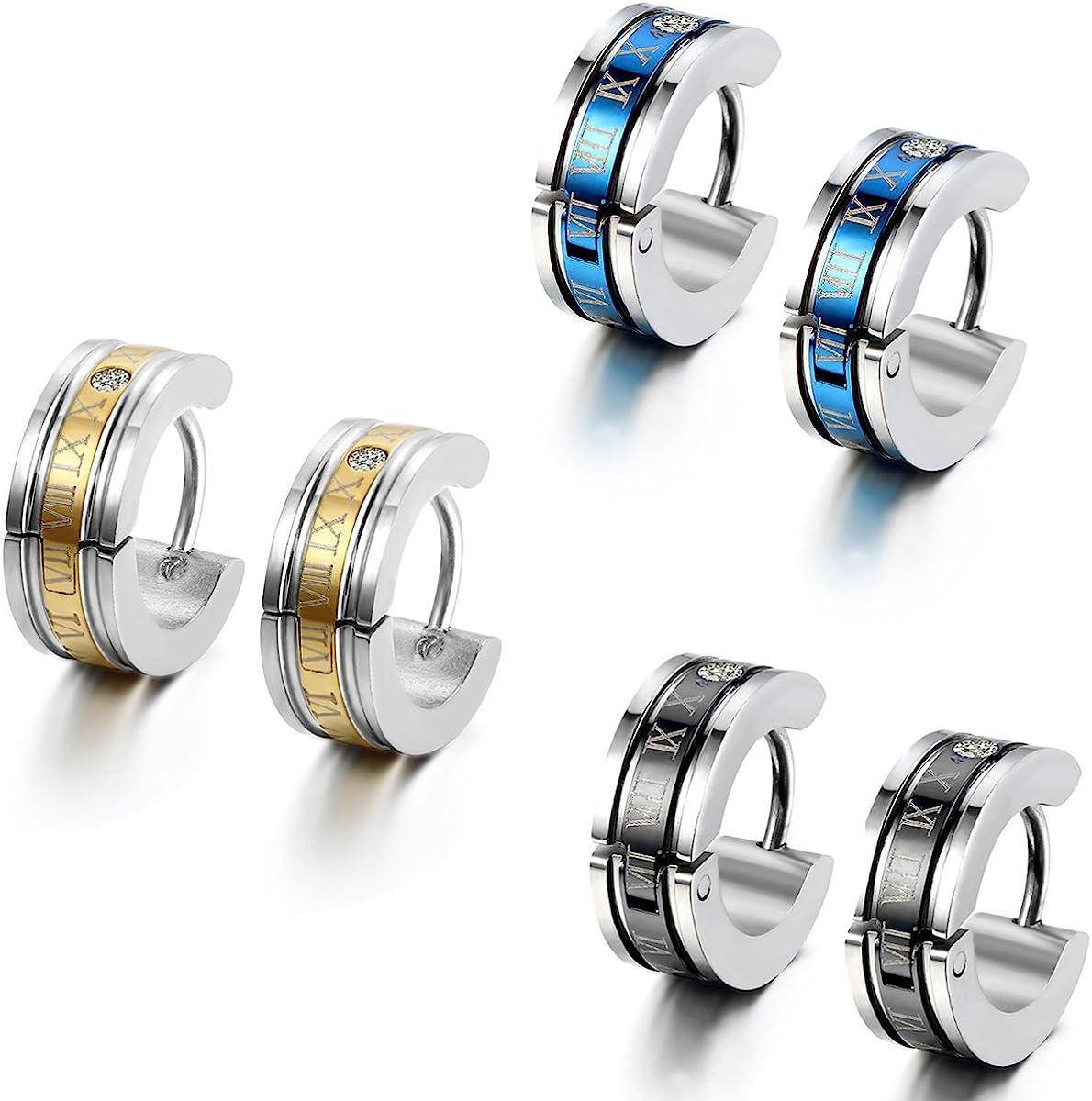 Flongo Men's Celtic Biker Stainless Steel Engraved Roman Numerals Polished Hoop Hinged Earrings, Classic Ear Plugs Huggie Earrings for Men Women